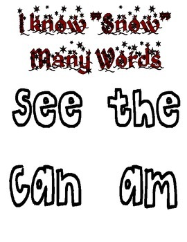 Snowy Sight Words & Sight Word Homework