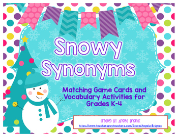 Snowy Synonyms {Matching Cards and Vocabulary Activities}