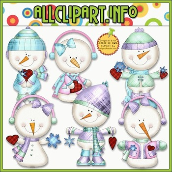 BUNDLED SET - Snowy Valentine Clip Art & Digital Stamp Bun
