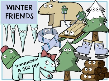 Winter Friends (Digital Clip Art)