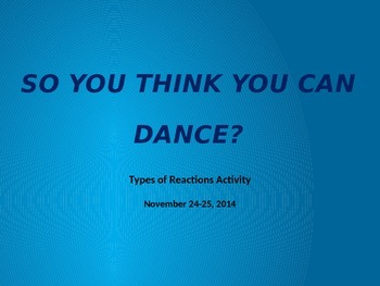"""So You Think You Can Dance?"" Types of Reactions Activity"