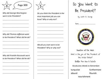 So You Want to Be President Trifold - Reading Street 4th G