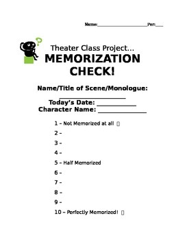 So simple...Rubric for how well students have MEMORIZED a