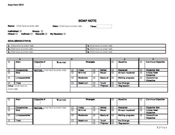 Soap Note Template Version 1.1