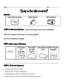 Soapy Clouds in the Microwave experiment data sheets