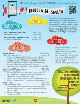 Creative Teacher Resume - Soaring Template