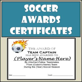 Soccer Awards Certificates - 9 Different Awards with Nomin