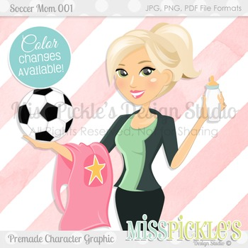 Soccer Mom 001- Blonde, Commercial Use Character Graphic