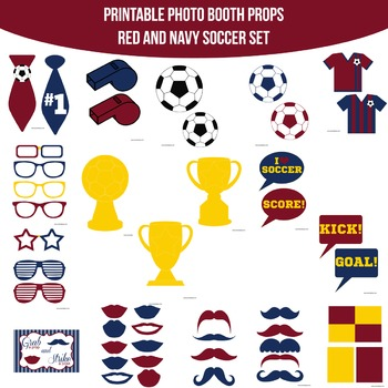 Soccer Navy Red Printable Photo Booth Prop Set