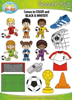 Soccer Sports Kid Characters Clipart Set Set — Includes 30