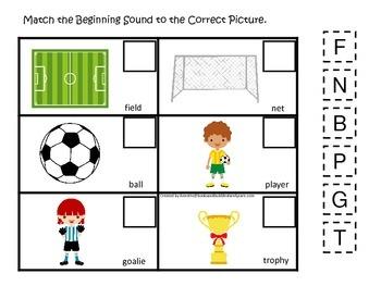 Soccer Sports themed Match the Beginning Sound preschool e