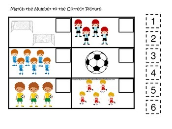 Soccer Sports themed Match the Number preschool educationa