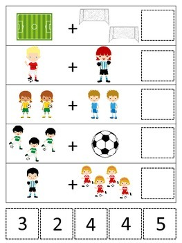 Soccer Sports themed Math Addition preschool learning game