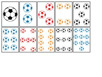 Soccer Sports themed Number Matching Cards preschool educa