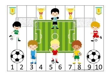 Soccer Sports themed Number Sequence Puzzle 1-10 preschool