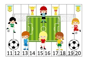 Soccer Sports themed Number Sequence Puzzle 11-20 preschoo