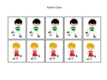 Soccer Sports themed Pattern Cards (boys) #2 preschool edu