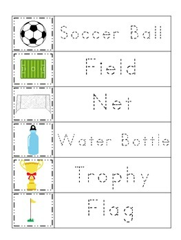 Soccer Sports themed Trace the Word preschool educational