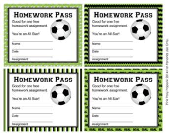 Soccer Theme Homework Passes