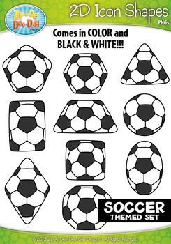 Soccer Themed 2D Icon Shapes Clipart Set — Includes 20 Graphics!