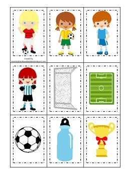 Soccer (girls) themed Memory Matching Cards preschool prin