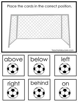 Soccer themed Positional Game.  Printable Preschool Curric