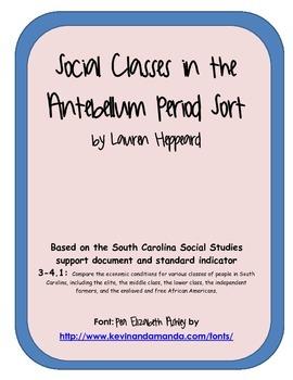 Social Classes of the Antebellum Period Sort