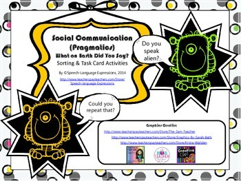 Social Communication (Pragmatics) Skills Task Cards and Ac