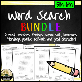 Social/Emotional Wordsearch Bundle 5th-6th: Feelings, Copi