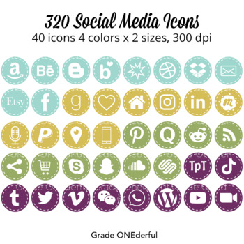 Social Media Icons: Periscope, Snapchat, Blab, Instagram,