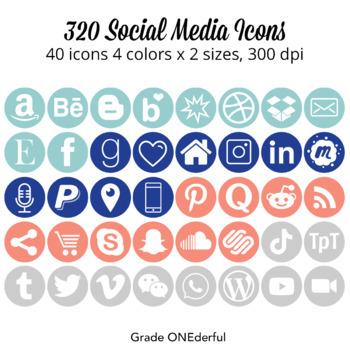 Social Media Icons: Round, Blue, Aqua, Orange, Gray, For B