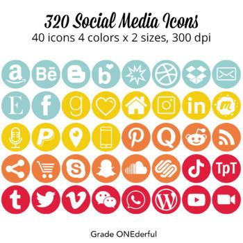 Social Media Icons: Round, Red, Aqua, Gold, Orange, For Bl