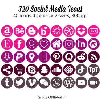 Social Media Icons: Round Social Icon Set, Pink Violet Wine Gray