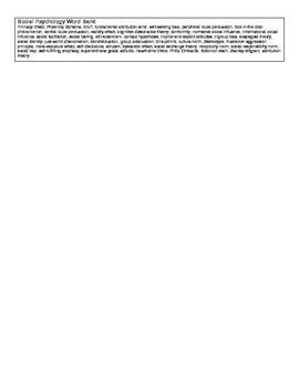 Social Psychology Vocab Application Study Guide