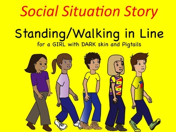 Social Situation Story: Walking/Standing in Line GIRL w/ D