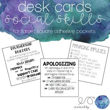 Social Skills Cards for Target Square Pockets - Growing Bundle