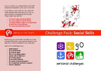Social Skills Challenge Pack - targets, posters & workshee