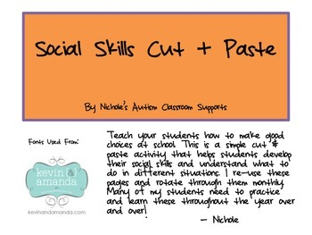 Social Skills Cut & Paste- Nichole's Autism Classroom Supports