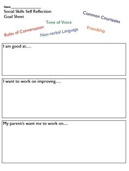 Social Skills Student Reflection and Goal Sheet