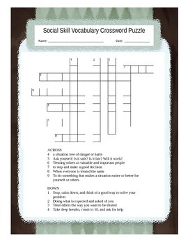 Social Skills Vocabulary Crossword Puzzle
