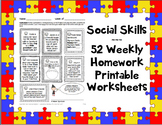 Social Skills Weekly Homework / Worksheets 365 activities