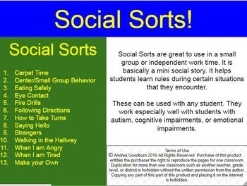 Social Sorts, Mini Social Stories, Autism, Social Skills