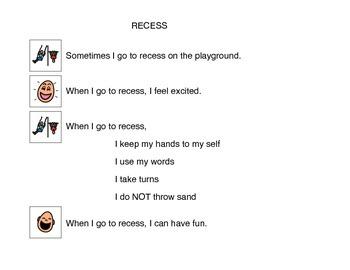 Social Story, Recess - Autism Visual