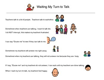 Social Story, Waiting My Turn To Talk- Autism VISUAL