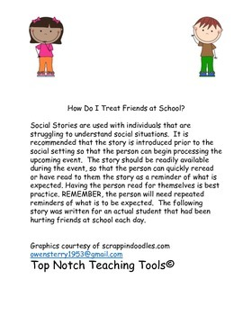 Social Story for being a friend at school.