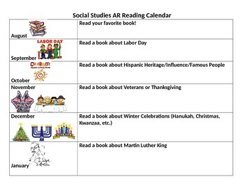Social Studies AR Reading Calendar to promote reading