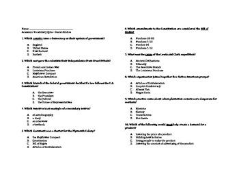 Social Studies Academic Vocab TCAP Review