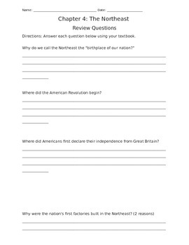 Social Studies Alive! Chapter 4 Review Questions, Grade 4
