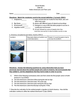 Social Studies Asssessment: Native Americans and Their Env