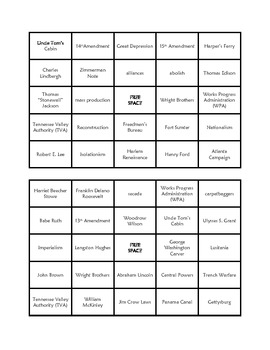 Social Studies Bingo Cards